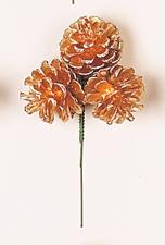"""3"""" Gold x 3 Pine Cone Pick"""