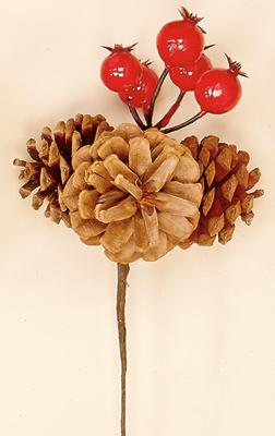 "3"" Pine Cone Pick X 3 With Weatherproof Berries"