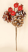 "3"" White Tip Pine Cone Pick X 3 With Weatherproof Berries"