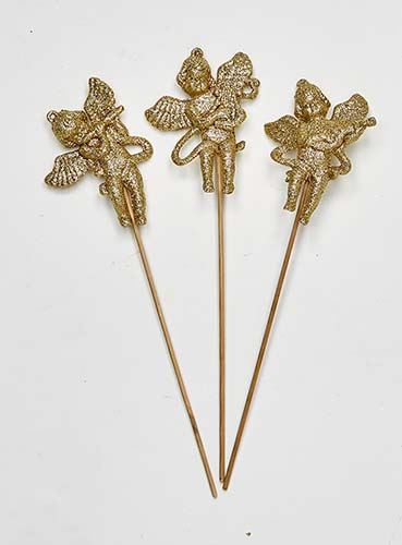 """4"""" Glittered Angels w/ Musical Instruments on 6"""" Pick, 3 Asst"""