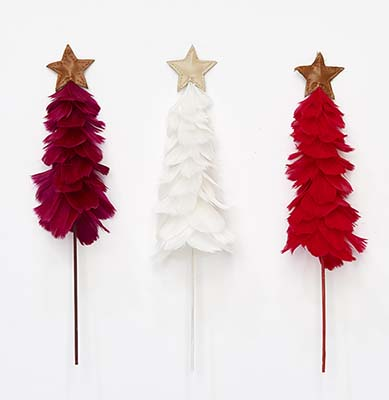 """9"""" Feather Tree With Star On 10"""" Stick"""