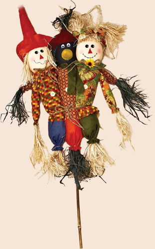 """36"""" Trio Scarecrow on Stick"""