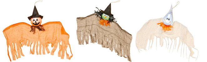 "24"" Hanging Ghost, Pumpkin & Witch"