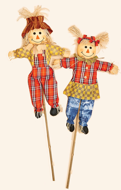 """36"""" Boy and Girl  Scarecrow on Stick 2 Assorted"""