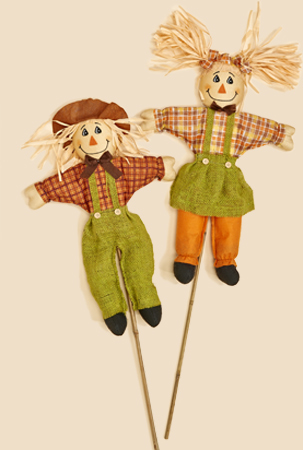 """36"""" Boy and Girl  Scarecrow on Stick"""