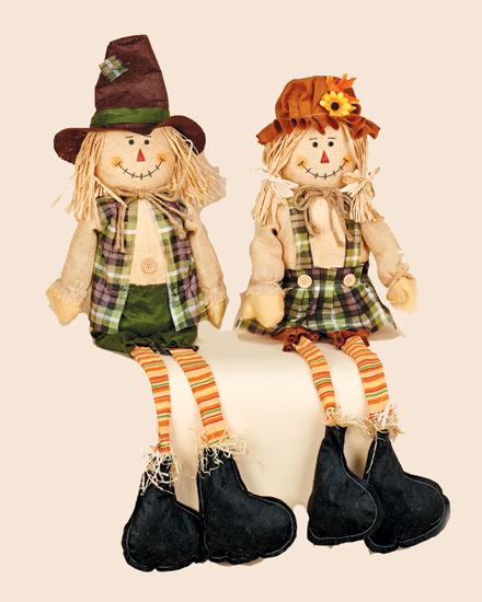 "32"" Sitting Boy & Girl Scarecrow w/ Long Legs"