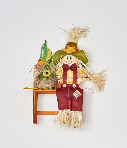 """11"""" Scarecrow Sitting on Bench"""