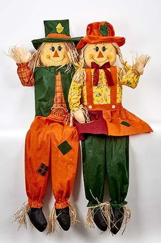 "60"" Sitting Scarecrow Couple, 2 Asst"