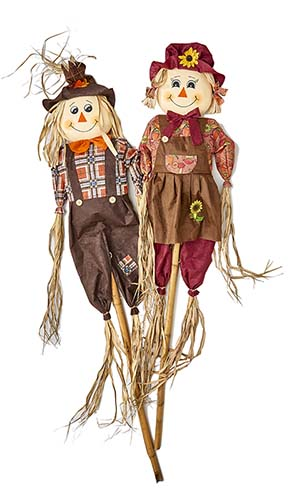 """60"""" SCARECROW ON STAKE, 2 ASST"""