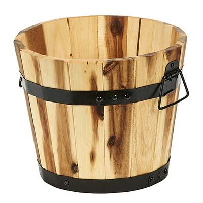 "Wood Barrel Planter, 11"""