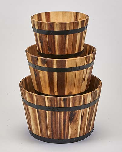 "NESTED WOOD BARREL PLANTER, ""18"",16"",13"""