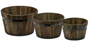 "Wood Barrel Planter with Brown Oil, 18"", 16"", 13"""