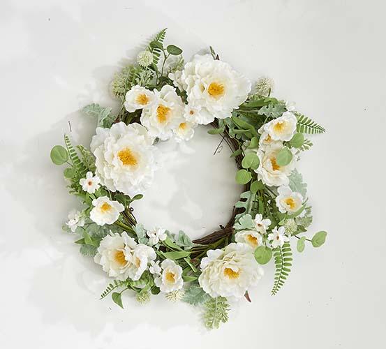 "22"" Cream Peony Wreath on Twig Base - Close out"