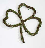 "12"" St. Patrick Day Twig Shamrock Wreath with Green Pips"