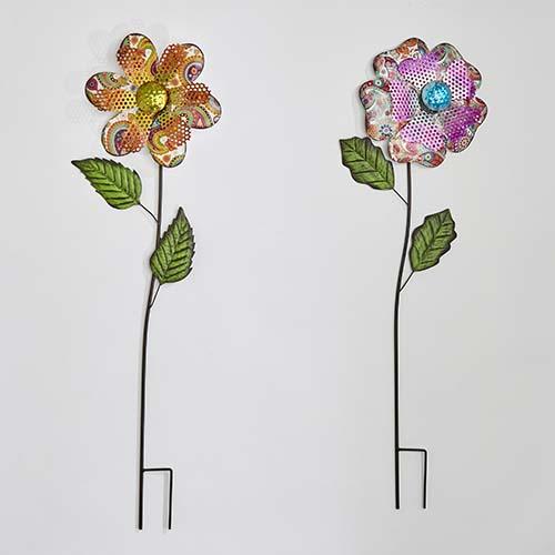 """36"""" Metal Flower Garden Stake, 2 Asst - CLOSE OUT"""