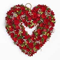 "15"" Valentines Wood Curl Heart Wreath With Floral Accents"
