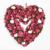 "15"" Valentines Pink Curl Heart Wreath With Mini Roses"