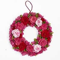 "16"" Red Wood Curl Wreath With Pink Roses"