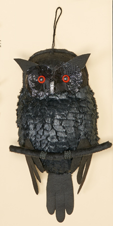 "19"" Hanging Black Owl w/ LED Lights Glowing in the Body"