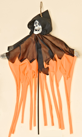 "20"" Robed Black/Orange Skeleton on Stick"
