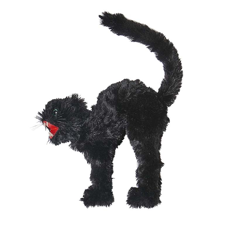 "12"" X 8"" FURRY BLACK CAT"