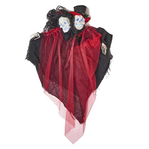 "36"" LIGHTED  DOUBLE HEADED GHOUL COUPLE"