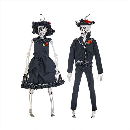 "15"" HANGING SKELETON BRIDE AND GROOM"