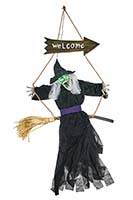"48"" Animated Hanging Witch Sitting on Broom"