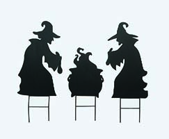 "15"" Silhouette Witches Stirring Pot on 6"" Metal Stake"