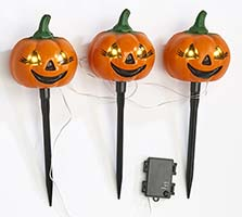 "15"" Light Up Triple Pumpkin Stake With Timer"