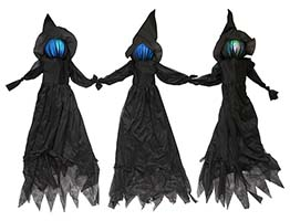 4' Light Up Triple Witch On Metal Stakes