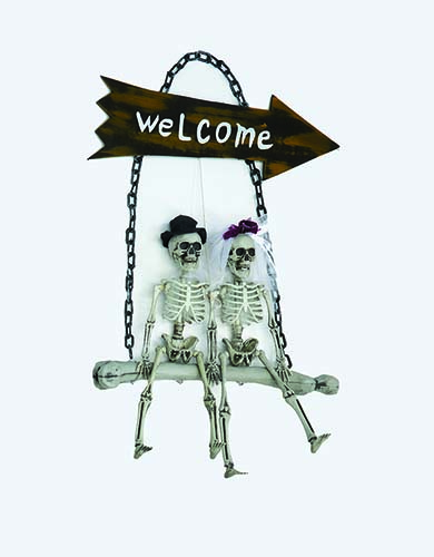 "28"" Skeleton Bride And Groom On Welcome Swing"