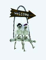"28"" Skeleton Bride And Groom On Welcome Swing"