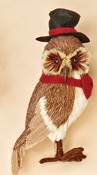 "10"" Standing Grassy Owl w/ Top Hat, CLOSE OUT"