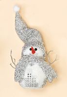 "7"" Standing Snowman w/ Glitter Hat and Scarf"
