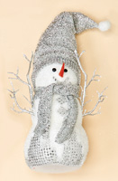 "12"" Standing Snowman w/ Glitter Hat and Scarf"