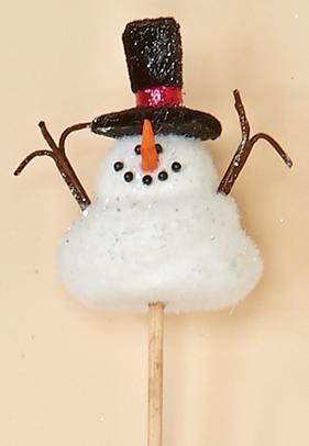 """3.5"""" Snowman on 8"""" Pick"""