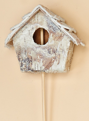 "3.5"" Frosted Birch Birdhouse on 10"" Pick"