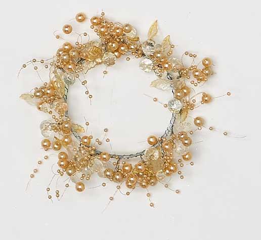 "1.25"" Acrylic Bead & Leaf Candle Ring, Amber"