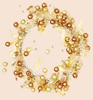 "3"" Acrylic Bead & Leaf Candle Ring, Amber"