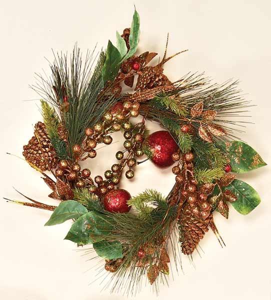 "14"" Shiny Glitter Fruit Wreath"
