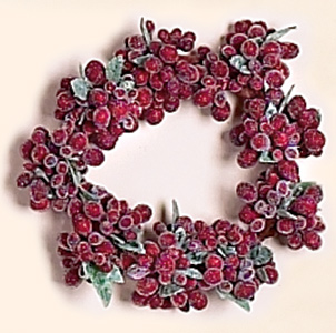 """3.25"""" Frosted Berry Candle Ring"""