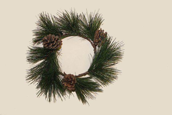 """4.25"""" Pine and Cone Candle Ring"""