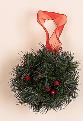 "4"" Pine & Red Berry Kissing Ball"