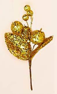 "7"" Glitter Fruit & Leaf Pick"