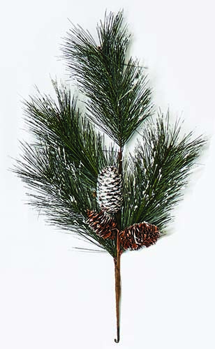 "19"" Snowy Pine Spray w/ 3 Cones"