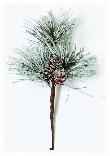 """9"""" Snowy Pine & Cone Spray"""