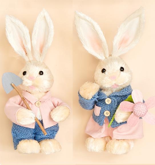"11"" Standing Grass Rabbit Holding Shovel or Flower- 2 Asst."