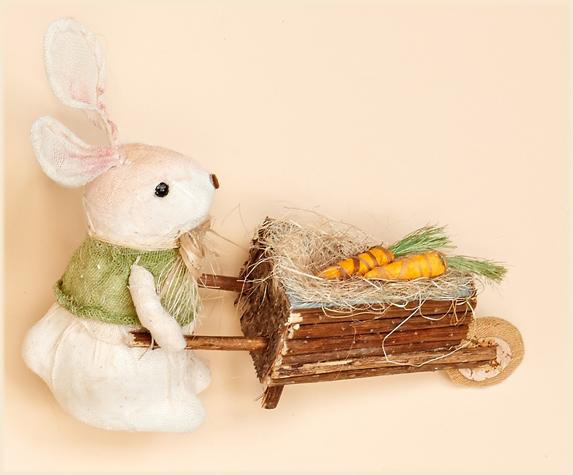 """10"""" White Rabbit Pushing Cart"""