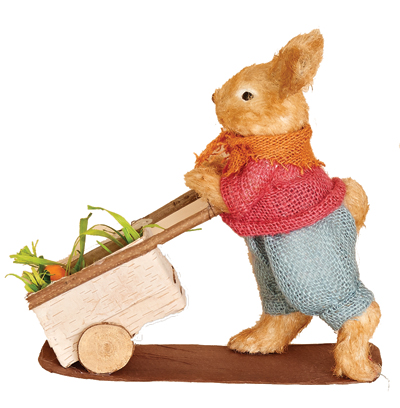 "11.5"" Grass Burlap Rabbit Pushing Cart"